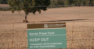 2013 Karnet Prison Farm Inspection view of a sign on the farm fence line