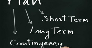 Image of man writing short term,, long term and contingency plan on blackboard