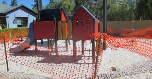 Fenced off childrens play apparatus for maintenance at Boronia Pre-release Centre for Women