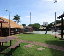Image of seating and basket ball court in the grounds at Broome Regional Prison